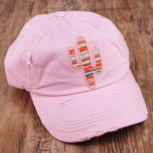 Pink Distressed Cactus Cap